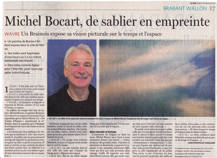 article expo Michel Bocart - Le Soir